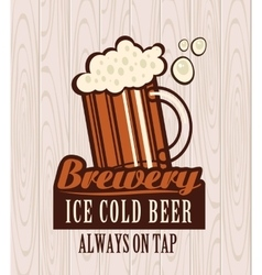 beer on wooden boards vector image