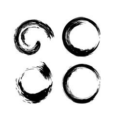 black circles shape brush strokes set vector image