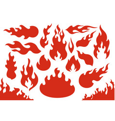 Blazing fire flames flaming red wildfire fiery vector