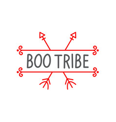 boo tribe lettering design template brush grunge vector image