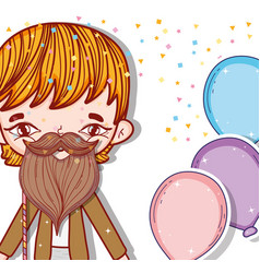 Boy wearing beard costume and balloons style vector