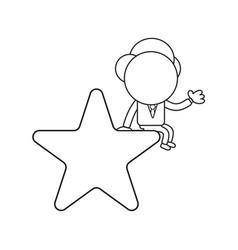 Businessman character sitting on star black vector