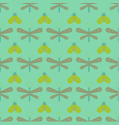 Butterfly and dragonfly seamless pattern vector