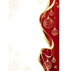 Christmas background with gold ribbon vector image