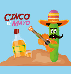 cinco de mayo cactus character playing guitar vector image