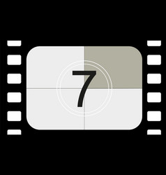 Classic movie countdown frame at number seven vector