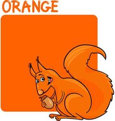 Color Orange and Squirrel Cartoon vector