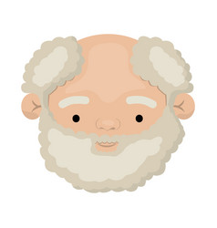 colorful face of bearded grandfather with curly vector image