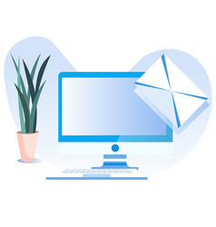Computer screen and receiving or sending letter vector