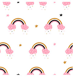 cute cloud rainbow - seamless pattern vector image