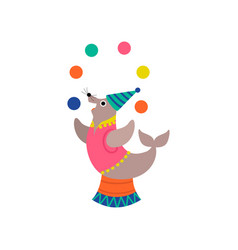 cute seal juggling balls on stage funny animal vector image