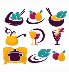 Decorative food and drinks vector