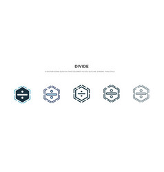 Divide icon in different style two colored and vector
