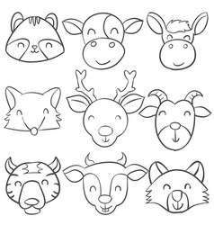 doodle animal collection style vector image