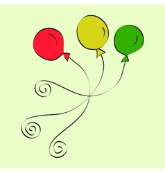 Doodle purple and yellow balloons vector