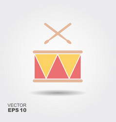 drum with sticks icon vector image