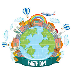 earth day poster with house planes and rainbow vector image