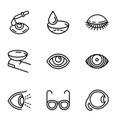 Eyeball care icon set outline style vector
