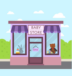 Facade baby store building in flat design vector