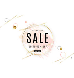 Fashion sale banner design background with gold vector