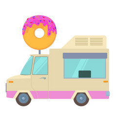 fast food trailer with donut icon cartoon style vector image