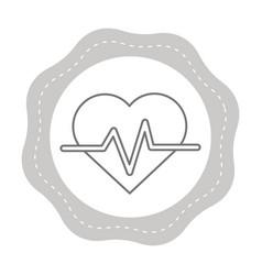 Figure sticker heartbeat cardio vital sign vector
