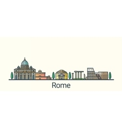 Flat line Rome banner vector