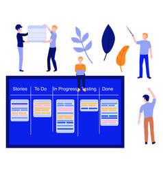 flat man with kanban scrum agile board vector image