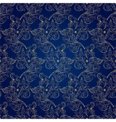 Floral vintage seamless pattern on blue background vector image