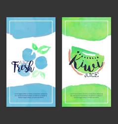 Fresh juice banner template set sweet fruits vector