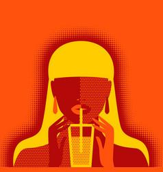 girl with lemonade on orange background vector image