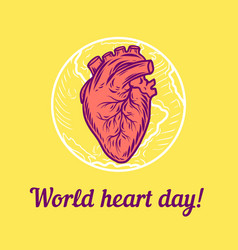 global heart day concept background hand drawn vector image