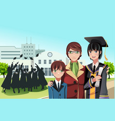 Graduation girl with mother and brother vector