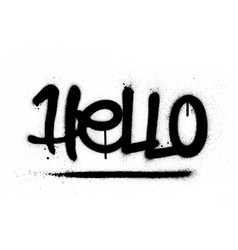 Graffiti hello word sprayed in black over white vector
