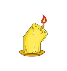 Halloween burning candle icon cartoon style vector image