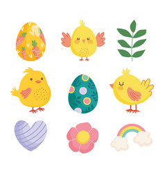 happy easter cute chickens eggs flower heart vector image