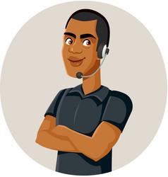 Happy male call center agent vector