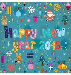 Happy New year 2015 retro greeting card vector image