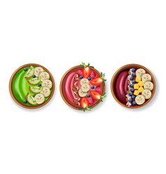 Healthy bowls breakfast realistic set vector