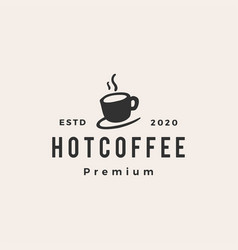 hot coffee cup hipster vintage logo icon vector image