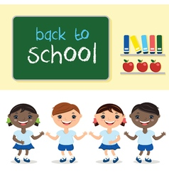 kids in school classwith school board With text vector image