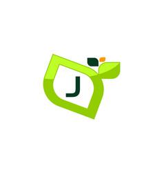 leaf initial j logo design template vector image