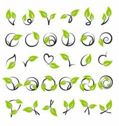 leaves design elements vector image