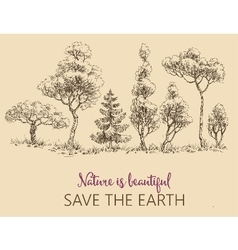 Line of trees Save the Earth card vector