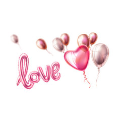 Love realistic rubber balloon heart on pink vector
