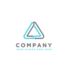 modern techie triangle link connection logo icon vector image