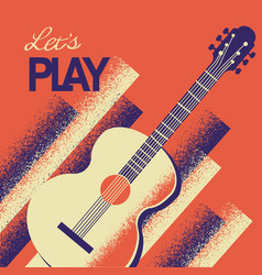 Music poster with acoustic guitar background with vector