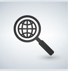 network search icon silhouette symbol magnifying vector image