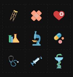 nine flat medicine icons vector image