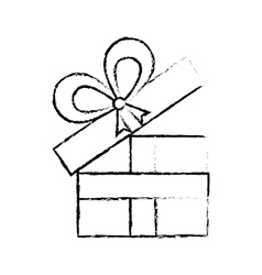Open gift box ribbon anniversary decorative sketch vector